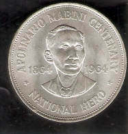 MONEDA DE PLATA DE FILIPINAS DE 1 PISO DEL AÑO 1964 DE APOLINARIO MABINI (COIN) SILVER-ARGENT - Filipinas