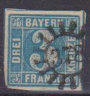 GERMANIA ANTICHI STATI  1849-50  BAVIERA GRANDE CIFRA IN UN CERCHIO UNIF. 2 USATO VF - Bayern