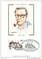 60011q2 - Carte Souvenir Philatélique Simenon FDC - Suisse - Cartes-Maximum (CM)