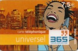 CARTE-PREPAYEE-FRANCE-365 -7.5€-R° Sans Logo-Sans Date-V°-1 Case Verte Et RGE-G RATT EE- TBE- - Autres Prépayées