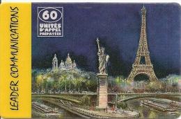 CARTE-PREPAYEE-LEADER-60U -PARIS-TOUR-EIFFEL-30/06/ 1999-TBE     - - Autres Prépayées
