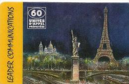 CARTE-PREPAYEE-LEADER-60U -PARIS-TOUR-EIFFEL-31/01/2000-TBE     - - France