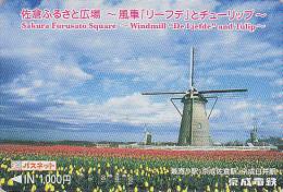 Carte Prépayée Japon - MOULIN / Site Hollande DE LIEFDE - MILL / HOLLAND Japan Prepaid Card - MÜHLE Karte -  138 - Landschappen