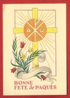NT-33 Bonne Fête De Pâques, Tulipes, Narcisses, Croix.  Collection Ave Maria. Non Circulé - Ostern