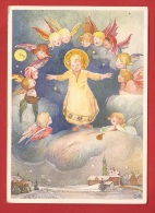NT-34 Petit Jésus Entouré D'anges, Noël. Mention Au Dos : Joyeux Noel Du Cercle D'Hommes De La Paroisse Catholique. - Anges