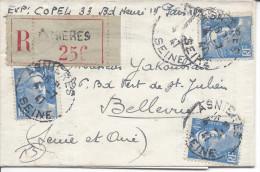 Recommandé Asnières Seine 4/7/1947 Pour Bellevue 3 Timbres 4.50F Bleu Gandon - France