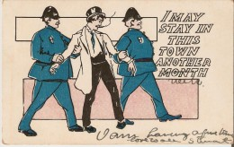 Humorous Postcard On The Theme Of The Arrest And The Time To Spend In Prison, Unsigned Illustration. Precursors Postcard - Prison