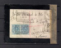 1918 GERONA, SOBRE CERTIFICADO CIRCULADO DESDE LLAGOSTERA A ZÜRICH, CENSURAS, AMBULANTE. - 1889-1931 Reino: Alfonso XIII