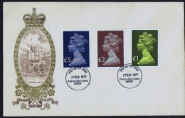 1977  High Value Machin  £1, £2, £5  Private Unaddressed FDC  Kingston-upon-Thames Cancel - FDC