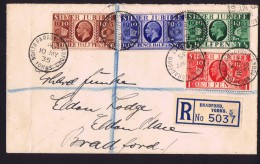 1935  Registered Letter With Complete Set George V Silver Jubilee - 1902-1951 (Kings)