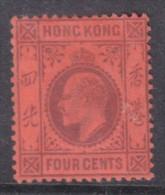 Hong Kong: 1904, Edward VII,  4 Cents, Wmk MCA, MH * - Hong Kong (...-1997)