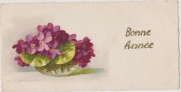 Cpa,signée,illustrateur,a Rtiste Reconnue,klein ,la Bonne Année,bocal Et Fleurs Non Courantes,fomat 6x12 - Klein, Catharina
