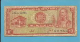 PERU - 10 SOLES DE ORO - 16.10.1970 - Pick 100.b - GARCILASO INCA DE LA VEGA - 2 Scans - Perú
