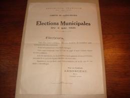 Sainte Solange 18220 Elections Municipales 1925 Ardonceau - Vieux Papiers