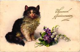 """FANTAISIE""""HEUREUX ANIVERSAIRE """" CHAT,VIOLETTES ET MUGUET   REF 41633 - Cats"""