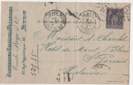 France 1877 CP  Porcelaine Cristaux & Verreries E Page Cie  Sage10c  Cachet  Lyon Rhone St Gerveais Les Bains Hte Savoie - Marcophilie (Lettres)