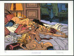 No PAYPAL !! : Philippe FRANCQ Ex-Libris LARGO WINCH ,Superbe Pin Up FEMMES NUES Sérigraphie ,XL N°/Signée 375 Ex NEUF - Ex-libris