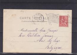 France - Carte Postale De 1922  ? - Oblitéraion Paris - Expédié Vers La Belgique - Type Mouchon - Drapeaux - Cartas