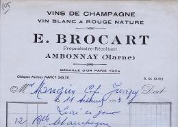 AMBONNAY CHAMPAGNE BROCART FACTURE - Frankreich