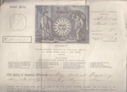Police Assurance - Sept 1869 - Sun Fire Office - London - Belle En-tete Lithographiée - Timbre Fiscal One Penny - Royaume-Uni