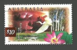 AUSTRALIA 1997 WETLANDS $10 BIRDS EGRET FLOWERS SET MNH - 1990-99 Elizabeth II