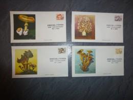 Lot De 4 Enveloppes 1er Jour Timbres Préoblitérés CHAMPIGNONS 1979, Sérigraphies De Talbo, Etc ; Ref 435 - Marcophilie (Lettres)