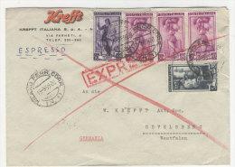 Italien Brief  nach Deutschland mit Bahnpost Stempel
