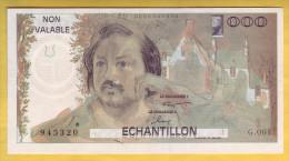 Billet. Echantillon. Banque De France. Projet Du Billet Honoré De Balzac - Fictifs & Spécimens