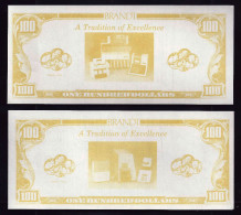 "ATM Test Note ""BRANDT - USA"" Testnote, 100 $, Typ A, RRRRR, UNC - - Ohne Zuordnung"