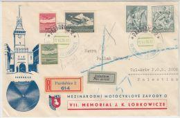 24180 VII. Memorial Lobkowice Illustrated Envelope To Palestine Tel-Aviv 1938 Registered Airmail - GF - Tchécoslovaquie