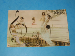 Cpa Belle Fantaisie Femmes Enfants Solfège  1905 - Women