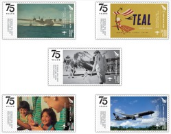 nz1501 New Zealand 2015 75 Years - Connecting New Zealand and the World Airplane 5v