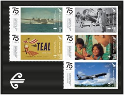 nz1501s New Zealand 2015 75 Years - Connecting New Zealand and the World Airplane s/s