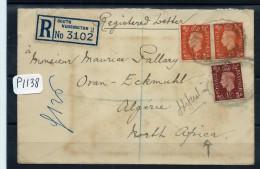 GRANDE BRETAGNE  A VOIR LETTRE RECOMMANDEE  DE KENSINGTON POUR ALGERIE JOLIE CAD - 1902-1951 (Könige)