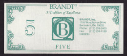 "ATM Test Note ""BRANDT - USA"" Testnote, 5 $, Typ B, RRRRR, Lightly Used - Ohne Zuordnung"