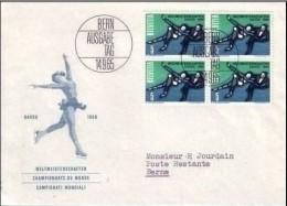 SUISSE DAVOS 1956 BLOC DE QUATRE SUR LETTRE PREMIER JOUR D´EMISSION. TRES BEAU. - Svizzera