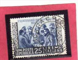 ITALIA REPUBBLICA ITALY REPUBLIC 1952 CINQUANTENARIO MARTIRIO DI BELFIORE MARTIRI MARTYRDOM USATO - USED - OBLITERE´ - 6. 1946-.. República