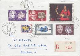 Recommandé 50 PIROU 1968 Pour Allemagne Timbres Couperin, Pol-Roux, Claudel Facteur Blason Et De La Tour - Covers & Documents