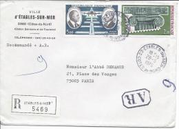 Recommandé Avec Accusé De Réception ETABLES SUR MER 1976 Pour Paris Timbres Arphila 75 + Daurat Et Vanier - France