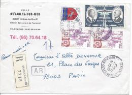 Recommandé Avec Accusé De Réception ETABLES SUR MER 1977 Pour Paris Timbres Daurat Et Vanier, Ussel Et Blason St Lo - France