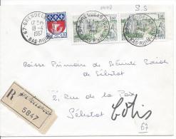Recommandé GRANDELBRUCH 1967 Pour Sélestat Timbres Alignements De Carnac + Blason Paris - Covers & Documents