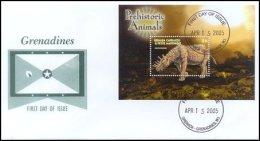 Grenada Grenadines 2005 Souvenir Sheet Dinosaur Prehistoric #2600-Uintatherium First Day Cover - Grenada (1974-...)