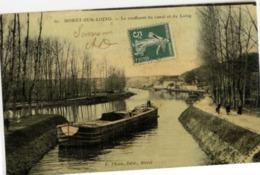 77 MORET-SUR-LOING - Le Confluent Du Canal Et Du Loing - Couleur Toilée - Péniche - Moret Sur Loing