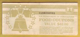 USA - U.S. Department Of Agriculture. Food Coupon. Carnet Avec 7 Coupons. Value 5 Dollars. 1993 - Etats-Unis