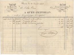 21 BEAUNE FACTURE 1845 Fabrique De Sucres Cuits Moulés GUYE PETITJEAN  - M8 - Frankrijk