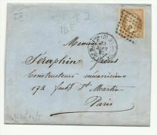 N° 13 T. 2 Sur Lettre à Entête Illustrée D'un Fabricant De Compteurs à Gaz De Paris Pour Paris 1862 - Marcophilie (Lettres)