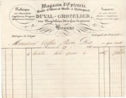 21 BEAUNE FACTURE 1841 Fabrique De CHOCOLATS Confitures Epicerie DUVAL GROZELIER   - M9 - Frankrijk