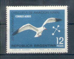 50 AÑOS DE LA ESCUELA DE AVIACION NAVAL OFFSET PAPEL SATINADO NACIONAL FILIGRANA SOL REDONDO DENTADO 13,5 - Argentinië