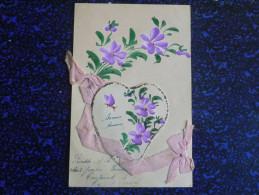 Carte Avec Fleur Et Ruban - Brodées