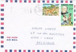 Burkina Faso 1988 Postal Cover Bobo-Dioulasso - Liège  (Belgium) Fight Against Leprosy - Burkina Faso (1984-...)